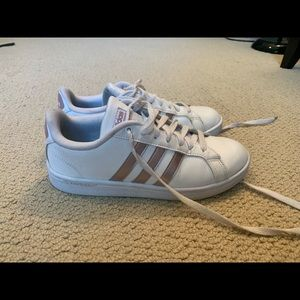 White & rose gold adidas sneakers